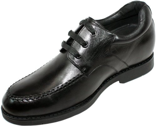 CALTO - G62525 - 2.8 Inches Taller - Size 9 D US - Height Increasing Elevator Shoes (Black Leather Lace-up Moc-toe Super Lightweight Casual Shoes)