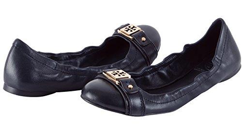 Tory Burch Ambrose Ballet Leather Flats Shoe -Navy - 7