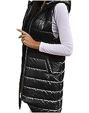 Briskorry Donsvest voor dames, lange wintermantel, licht, mouwloos, doorgestikt vest, extra groot, winddicht, draagbaar, lang, slank vest met capuchon