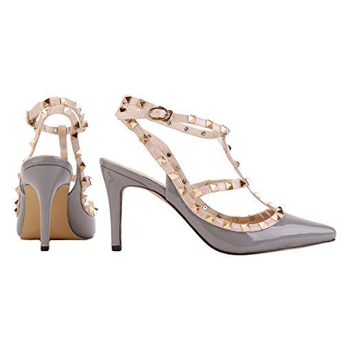 Cuir Femme Largeshop Bouton Poussoir Creux Haut 8cm Chaussure Chaussures Talon Gris Multicouleur À Rivet D'Été Sandales Casual PU Sandales BRTzB
