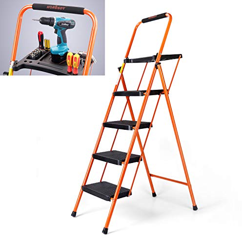 - HORUSDY 4 Step Ladder Platform Lightweight Folding Stool, with Tool Tray and Non - Slip Pedals, It can Withstand 330 LBS