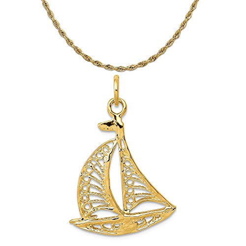 Mireval 14k Yellow Gold Sailboat Charm on a 14K Yellow Gold Rope Chain Necklace, 20