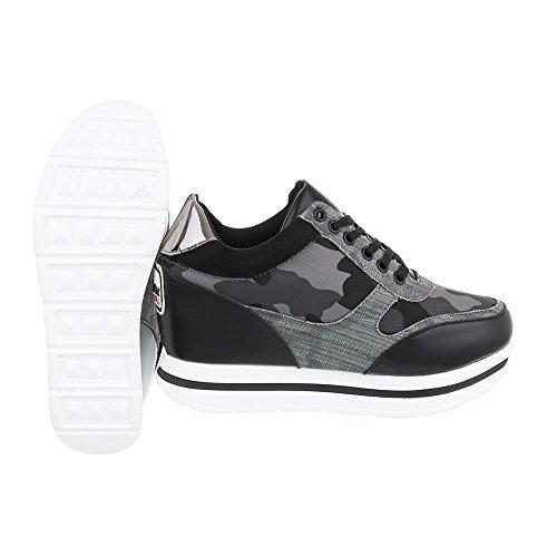 Ital-Design Low-Top Sneaker Damenschuhe Low-Top Keilabsatz/Wedge Sneakers  Schnürsenkel ...