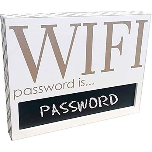 Adams & Co. Wood Wifi Password Sign 18006 with Chalkboard Section for Password White with Gold Dots 11.5 Inches x 9.1 Inches ()