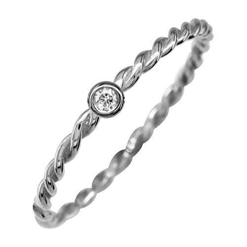 Diamond Rope Twist Ring - Thin Diamond Rope Ring in 14K White Gold size 4.5