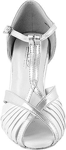 Scarpe Da Ballo Da Donna Scarpe Da Tango Per Matrimonio Salsa 2707ebb Confortevole-molto Fine 3 [fascio Di 5] Raso Bianco Con Finiture Argento