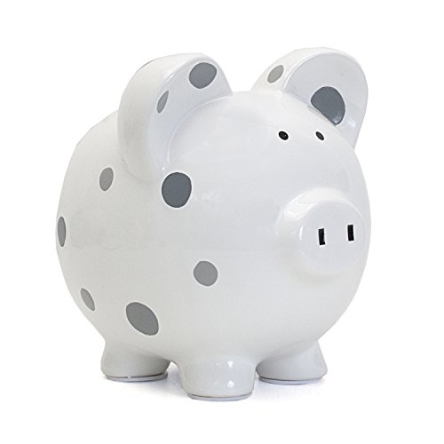 - Child to Cherish Ceramic Polka Dot Piggy Bank, Grey