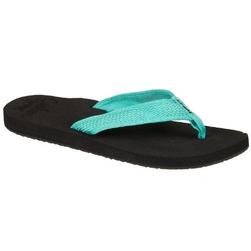 Reef Braided Cushion Juniors Sandal - Black/Turquoise (Womens Braided Cushion)