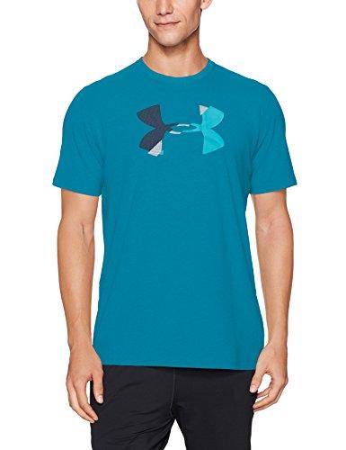 Under Armour Men's Glitch Logo T-Shirt, Bayou Blue/Blue Shift, (Blue Logo Cotton T-shirt)