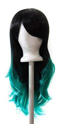 Hina - Wig 25'' Natural Black Fade Seafoam Green Layered Wavy Fade w/ Long Bangs. Color fades on each strand of hair. by Purple Plum Inc.