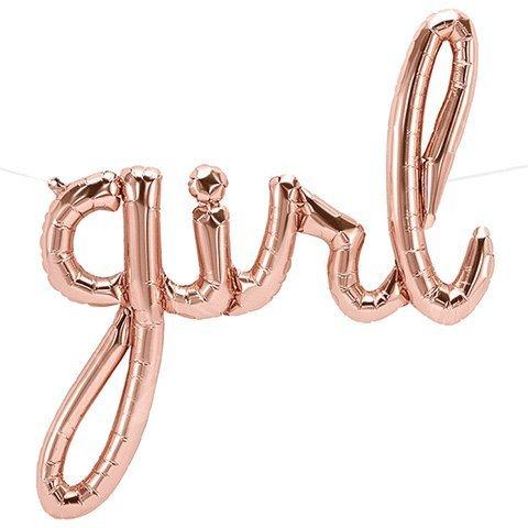 Girl Script Rose Gold Foil Balloon -