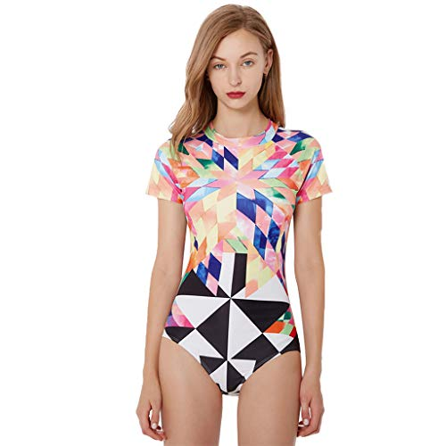 (Simayixx Womens Shorty Wetsuit Zipper Summer Swimwear Colorful Printed Short Sleeve Diving Snorkeling Surfing Swimwear)