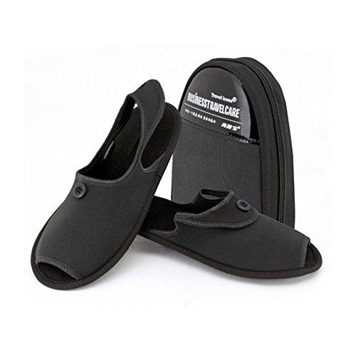 TBC Men Women Travel Business Travel Fold Aviation Collapsible Casual Non-slip Slide Slippers Shoes Black 9pR9gztM