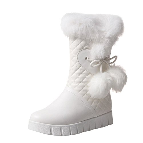 Show Shine Womens Cute Balls Platform Lage Hak Ankel High Snow Boots White
