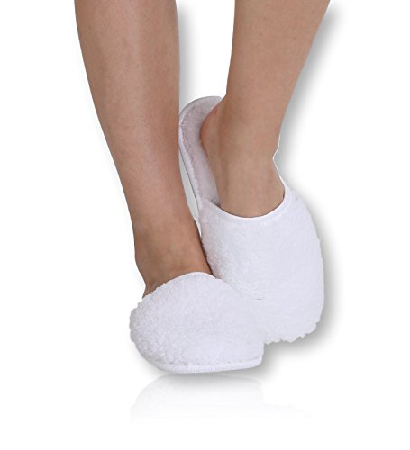 Pembrook Ladies Slippers With Memory Foam – White - L/XL (9-10.5) – Fuzzy Soft Coral Fleece With Non Skid Sole – Great Plush Slip On House Slippers For Adults, Women, Girls - White Soft Plush