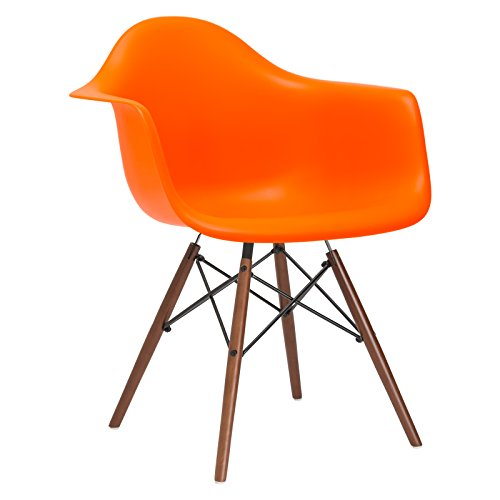 Poly and Bark Vortex Arm Chair Walnut Leg, Orange