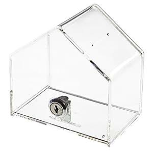 HMF - Urna y hucha con forma de casa (acrlico, 138 x 125 x 90 mm)