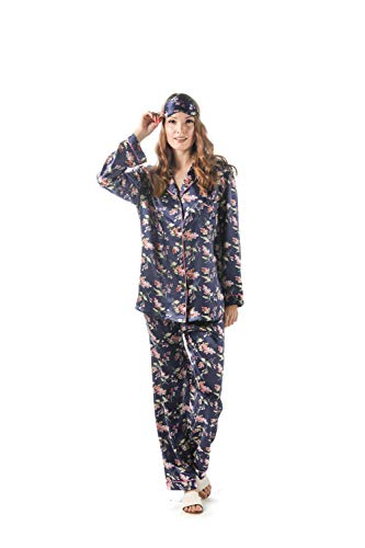 - momomio Womens Silk Satin Pajamas Floral Print Long Sleeve Button Down Pajama Set Loungewear Sleepwear Gift Eye Mask Included (S, Navy Floral)