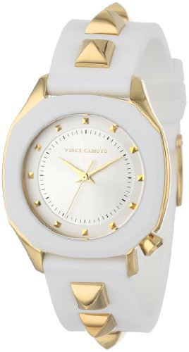 Vince Camuto Women's VC/5106WTWT Gold-Tone Pyramid Accented White Resin Strap Watch