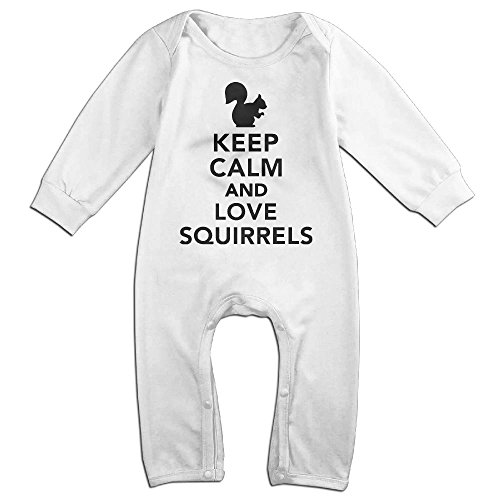 Newborn Kids Bodysuits Keep Calm and Love Squirrels Toddler Jumpsuit