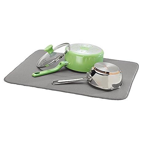 mDesign Alfombrilla escurridora extra grande para vasos, platos, sartenes ? Tapete escurreplatos y utensilios