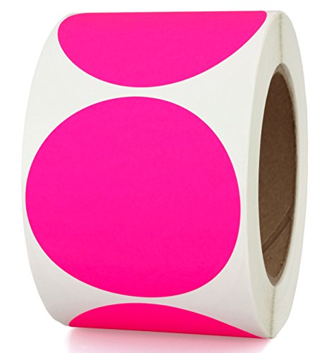 "3"" Fluorescent Pink Color-Coding Sticker Dots 