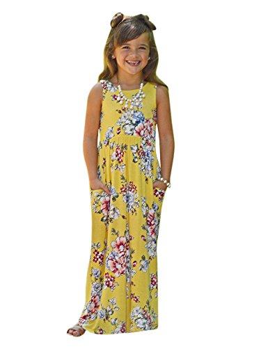 Syktkmx Girls Floral Short Sleeve Empire Waist Summer Beach Long Maxi Dress with Pockets -