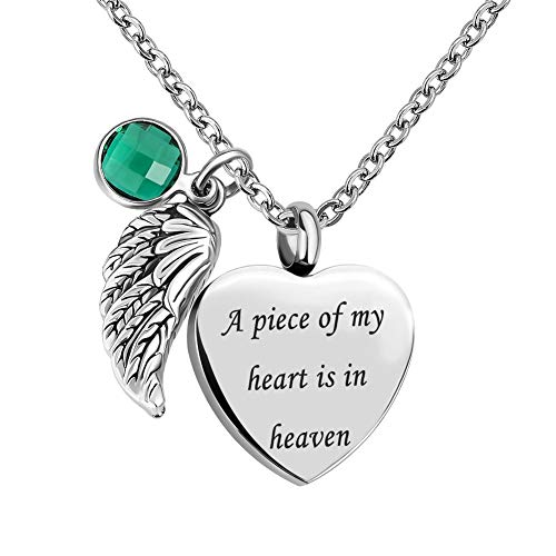 Sexymandala Angel Wing Charm Heart Love 12 Colors Crystal Urn Necklace for Ashes-A Piece of My Heart is in Heaven/Green ()