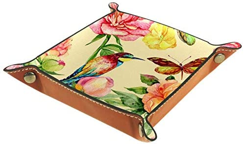 HANDIYA Quadrangle Desktop Opbergdoos PU Lederen Opvouwbare Opbergdoos Dobbel Rolling Lade Voor Tafelspellen Vlinder En Vogel
