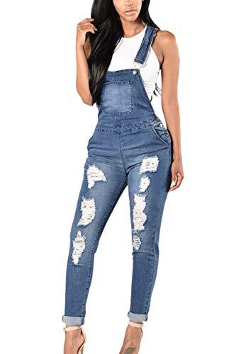 Donne Pantaloni Jeans Blu Tasca Le Con Dei Tuta Lunghi Strappati Yulinge 4qF5Cwn