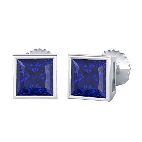 Bezel Set Princess Cut Created Blue Sapphire (4MM) Solitaire Stud Earrings 14K White Gold Over .925 Sterling Silver