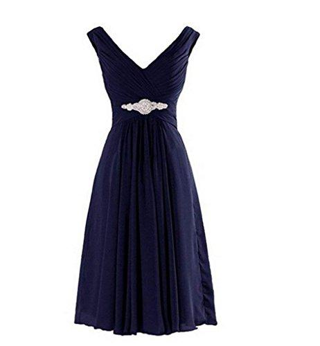 A Rock Ausschnitt Kurz Linie V Chiffon Neu 2018 Flieder Abendkleider Damen Brautjungfernkleider Partykleider Charmant Blau Navy qfA8w