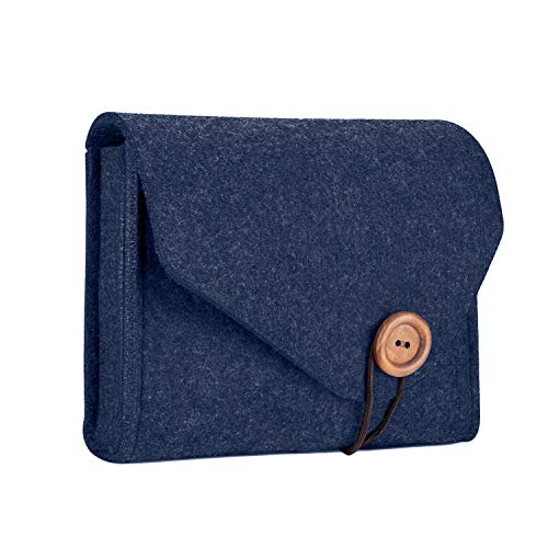 ProCase MacBook Power Adapter Case Storage Bag, Felt Portable Electronics Accessories Organizer Pouch for MacBook Pro Air Laptop Power Supply Magic Mouse Charger Cable Hard Drive Power Bank -Navy