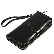 Missy K Genuine Leather Women's Wristlet Hand Wallet Credit Card Clutch Purse