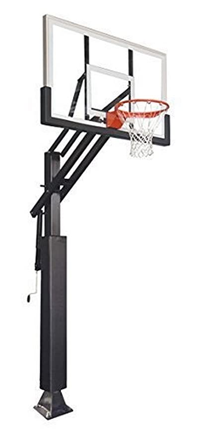 """Game Changer in-Ground Adjustable Basketball Goal Hoop with 60"""" Glass Backboard System for Outdoor Basketball Courts with Post & Backboard Pad"""