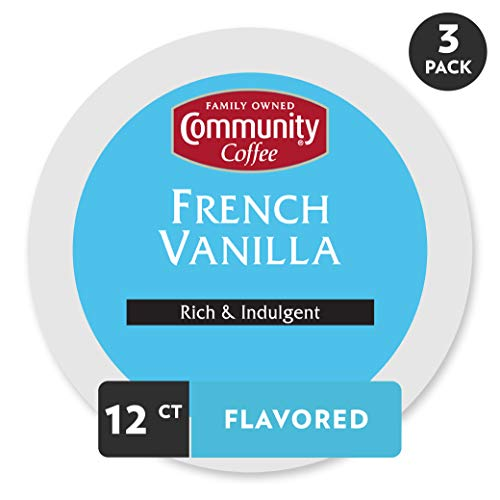 (Community Coffee French Vanilla Flavored Medium Roast Single Serve 36 Ct Box, Compatible with Keurig 2.0 K Cup Brewers, Medium Full Body Rich Creamy Taste, 100% Arabica Coffee Beans)