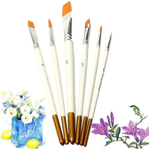 絵筆 6 PCSプロフェッショナルドローイングセットアクリルオイル水彩画アーティストブラシアーティストがセットペイントペイント 掃除が簡単で実用的 (色 : 白, Size : 6pcs)