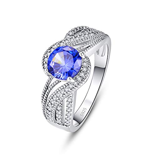 Emsione Women's 925 Silver Plated Round Created Tanzanite Engagement Swirl Bypass Ring Eternity Size 6-9 (Baguette Swirl Bypass Ring)