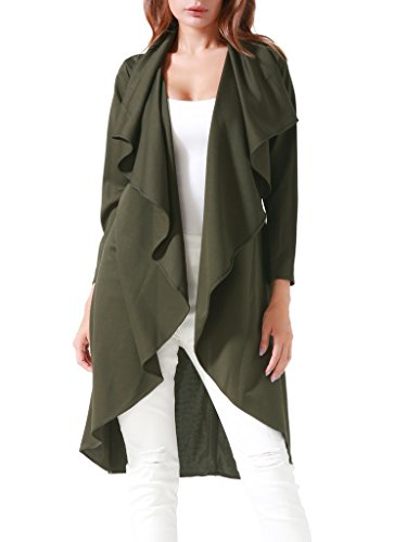 Costyleen Women Long Sleeve Casual Lapel Thin Cape Jacket Open Front Trench Coat Dark Green (Long Sleeve Trench Coat)