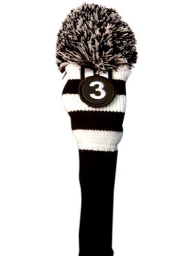 Majek #3 Fairway Metal Wood Black & White Golf Headcover Knit Pom Pom Retro Classic Vintage Head Cover