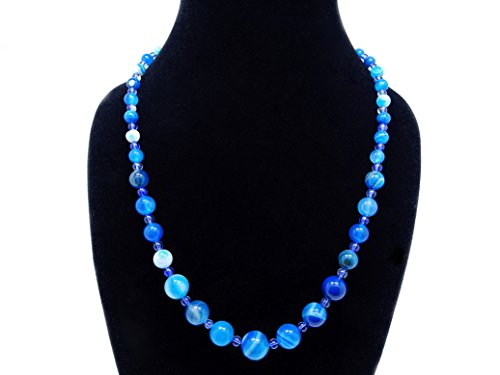 jennysun2010 Handmade Natural Blue Stripe Agate Gemstone Beads 4~12mm Graduated Adjustable Necklace Healing (18'' Adjustable up to 30'')