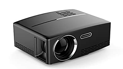 Aurosports Mini Home Theater Projector 1800 Lumens- Support 1080P Video Input With HDMI,VGA,AV, USB Connection And Lower Fan Noise Ideal For Backyard Movies And Playing Video Games