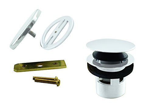"Westbrass 1-1/2"" NPSM Coarse Thread Tip-Toe Bathtub Drain with Illusionary No-Hole Faceplate, Powder Coat White, D98RK-50"