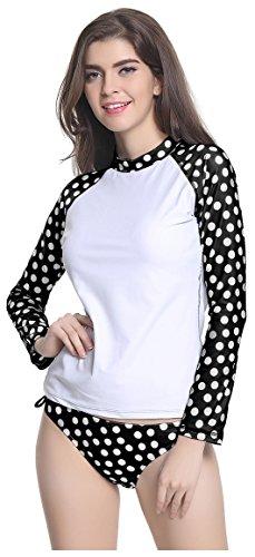 (ilishop Women's UV Sun Protection Long-Sleeve Crew Rashguard Dot Rash Guards Athletic Top Black L)