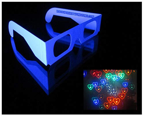 Rainbow Hearts Diffraction Glasses - 5 Pack - See Colorful Light Spectrum Rainbow Heart Shapes in Every Point of Light at Weddings, Parties, Raves, Music Festivals, Fireworks, Holiday Lights (Best Music For Fireworks Display)