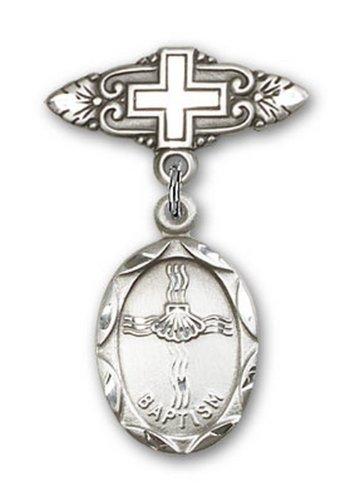 Icecarats Créatrice De Bijoux En Argent Sterling Baptême Broche De Badge Charme Avec Une Croix 1/8 X 3/4
