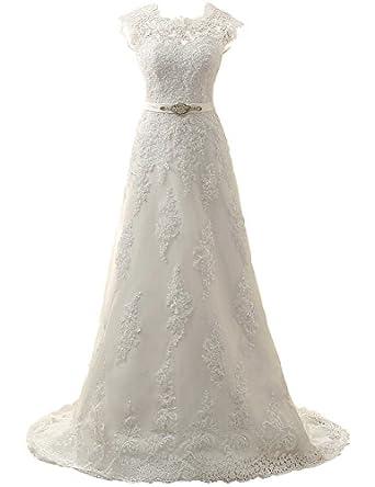 JAEDEN Cap Sleeve Lace Wedding Dresses for Bride A line Bridal Gown ...