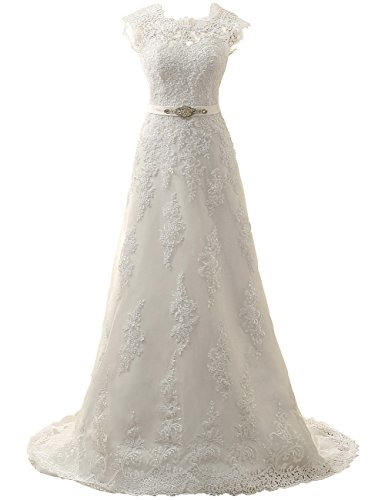 JAEDEN Wedding Dress Lace Bridal Dresses with Crystal Sash Wedding Gown A Line Bride Dress Cap Sleeve Ivory