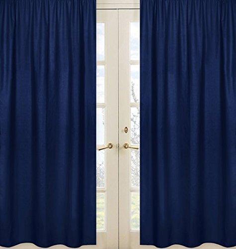 Jojo Designs Panel - Sweet Jojo Designs 2-Piece Navy Blue Window Treatment Panels for Kids Teens Boys Stripe Collection