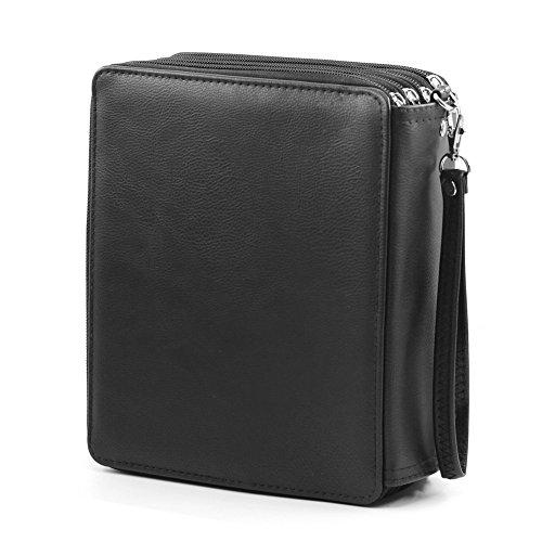 Bajotien Colored Pencil Case 168 Slots - PU Leather Handy Super Large Capacity Pen Bag for Prismacolors Pencils (Black)